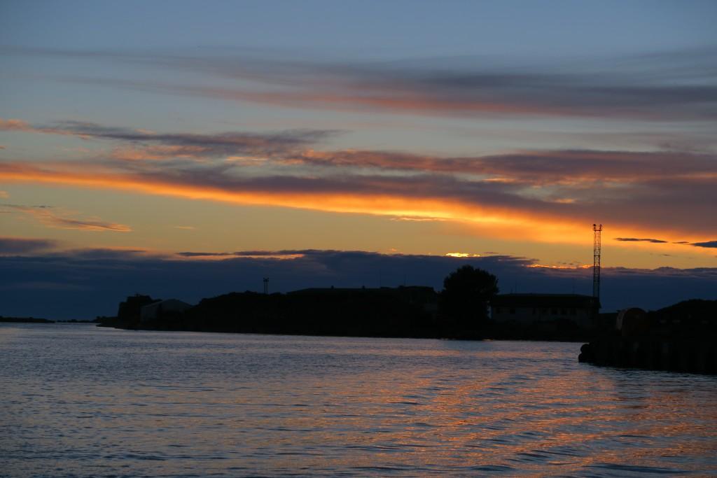 letztes Licht beim Einlaufen in Liepaja