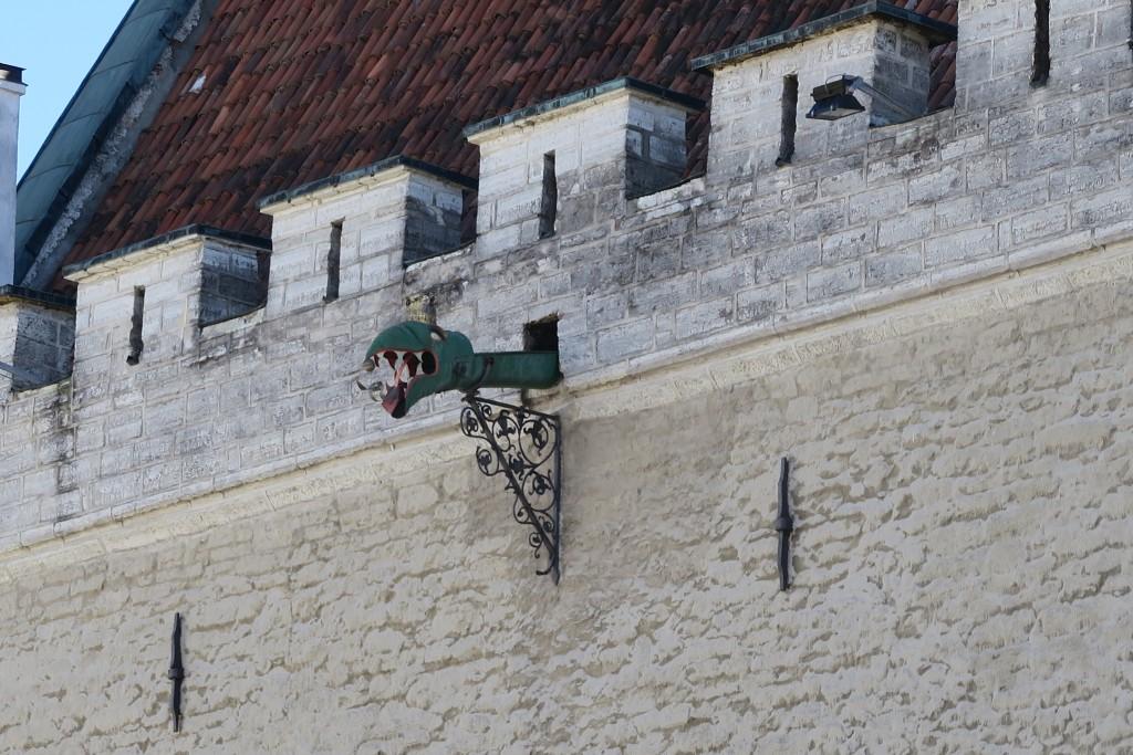 phantasievoller Regenwasserspeier am Rathaus von Tallinn
