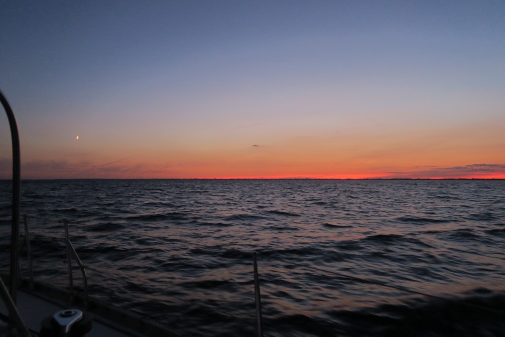 Sonnenuntergang über Falster auf dem Weg nach Kiel